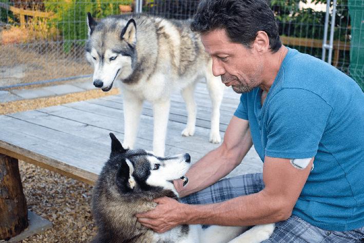 Kurt caresses ses chiens dans un moment de complicité