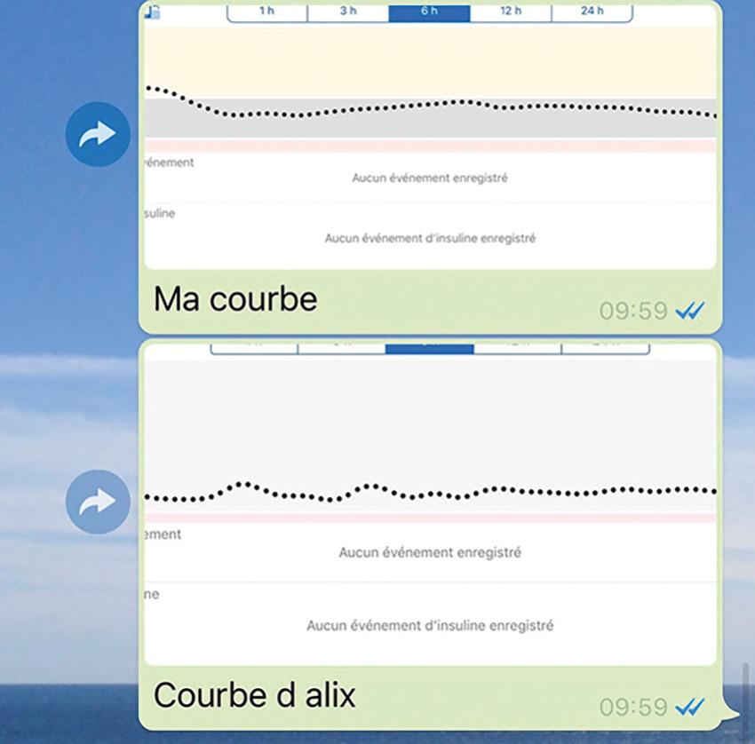 Les courbes de glycémies de Victoria (en haut) et Alix, non diabétique, enregistrées tout au long de la course © FRD
