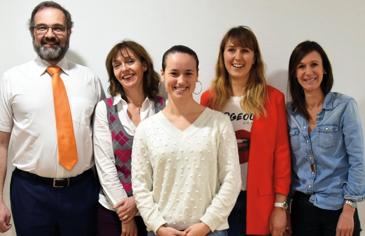 L'équipe DeltaFit de la Maison Santé Chablais: de gauche à droite: Dr Nicolas Kirchner, Béatrice Kurmann (infirmière), Emilie Seleiro (coach sportive), Mélanie Berrut et Stéphanie Oreiller (diététiciennes)